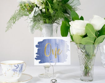 Navy Ombre Watercolor Splash and Gold Foil Table Numbers Handmade Wedding 0140