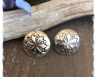 """Southwestern Native American Navajo Sterling Silver Concho Earrings with Stamping 3/4"""""""