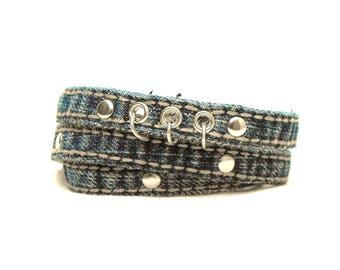 "Denim wrap bracelet, blue jeans jewelry with studs and rings, wrap-around cuff for a 7"" - 7.5"" wrist, punk rock bracelet, Lizi Rose"