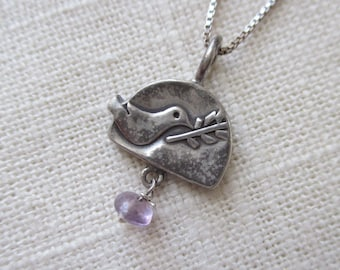 Artisan Dove and Olive Branch - Sterling Silver