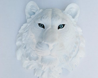 White Tiger with Blue Eyes - Faux Taxidermy Mount T0100