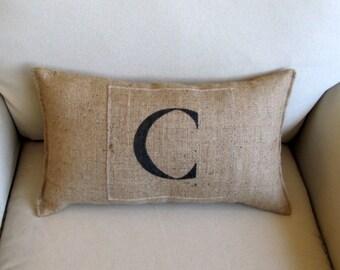 monogram natural burlap hand painted pillow