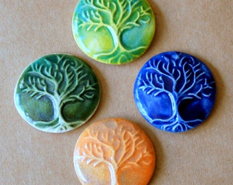 4 Ceramic Mosaic tiles - Tree of Life Cabochones