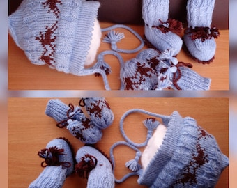 Knitting PATTERN Infant Baby Set - Baby hat, Baby booties & Baby gloves (0-4 months)