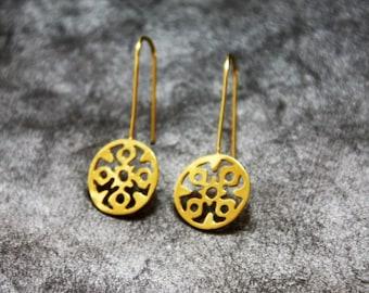 Wedding Gold Earrings, Wedding Earrings, Gold Wedding Jewelry ,Statement Gold Earrings,  Bridal Jewelry, Bridal Earrings, Wedding Jewelry