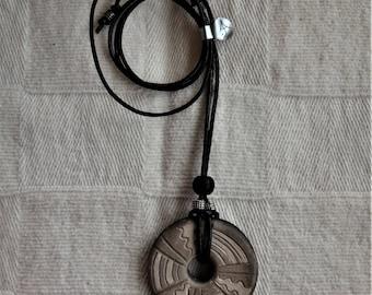 Handmade ceramic pendant/choker/jewellery/unique/jewelry/boho/pottery/leather and wood