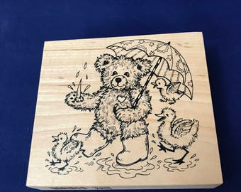 Fuzzy Bear, PSX Rubber Stamp, April Rain Showers, Umbrella, Puddle, Ducks