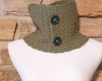 Womens green cowl neck  warmer crocheted scarf