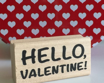 HELLO VALENTINE Stamp VALENTINES Day Cards Wood Mounted Rubber Block Holiday Words Sentiment Stamping Scrapbooking Craft Crafts card planner