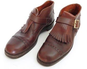 Size 9/9.5? - Tricker's Shoemakers, London, vintage bespoke monk strap ankle boots