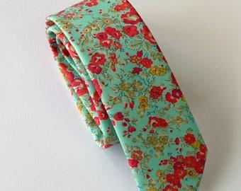 Floral Liberty print tie - Tatum design - floral tie - floral wedding tie - aqua tie - mens floral tie - Liberty tie