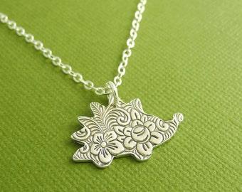 Hedgehog Necklace, Flowered Hedgehog Necklace, Fine Silver, Sterling Silver Chain, Made To Order