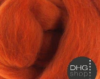 "Superfine merino, 19 microns,""Pumpkin""  wool roving, sliver, tops"