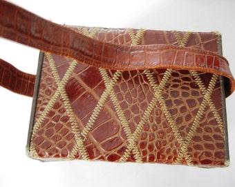 Sac à main Vintage, Style boîte, Alligator, sangle, miroir, à l'intérieur de la poche, fermeture par bouton pression, Arlequin Design matelassé