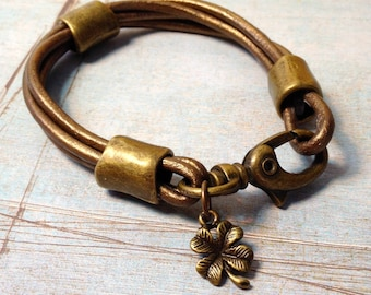 Gold Metallic Leather Bracelet with 4 Leaf Clover Charm