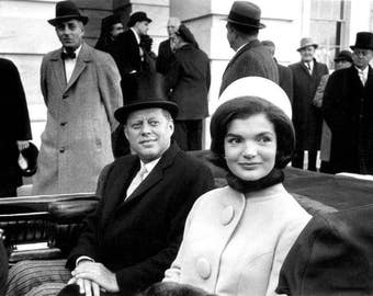 John F. Kennedy,    John & Jackie Kennedy before Inauguration parade