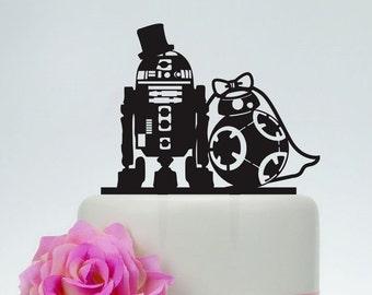 Wedding Cake Topper,Star Wars Cake Topper,R2D2 & Bb8 cake topper, Acrylic Custom Cake Topper,Love Cake Topper,Star Wars Silhouette  P152