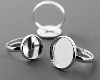 20 Silver Adjustable Finger Ring with 10-20mm Round Bezel Cups AH164217