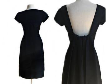 Vintage 50s black cocktail dress/ Nathan & Strong taffeta party dress/ MOD LBD/ formal black dress/ watteau back/
