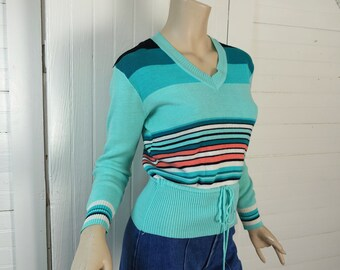 70s Aqua Striped Sweater- 1970s Vintage Roller Disco Mint Green & Teal- School V Neck Pullover Small Preppy Boho