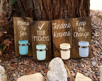 Laundry Room Sign,Laundry Room Decor,Keep the Change,Check your Pockets,Finders Keepers,Moms Tip Jar,Rustic Laundry Room Decor,Mason Jar