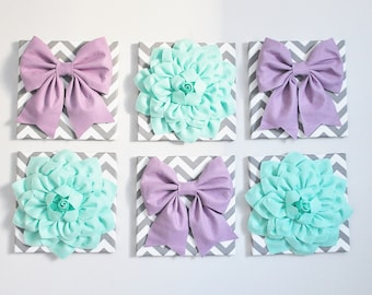 "Wall Decor -SET OF SIX Lilac and Mint Gray and White Chevron Flower and Bow Wall Hangings 12 x12"" Canvases Flower Wall Art- Large Wall Art"