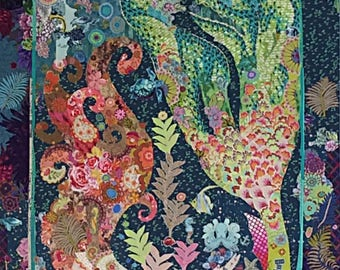 Mermaid Collage - Laura Heine Pattern - Applique Quilt  - Sirene Pattern - DIY Pattern Or Kit Option - full size reusable template pattern