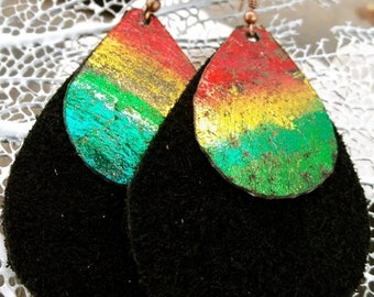 On Sale Red Gold Green Black Painted Leather Teardrop Earrings