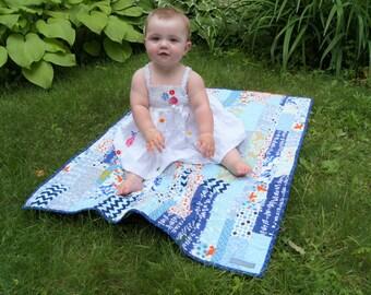 Scrappy Blue Baby Quilt, Modern Stroller Quilt