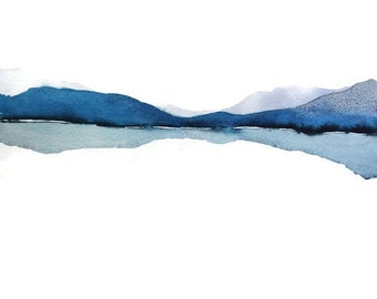 Large Print Art, Extra Large Wall Art Abstract Landscape Watercolor Painting, Watercolor Print Art, Water Painting, Blue Gray White, Modern