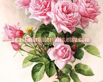 English Roses bead embroidery DIY kit beading on needlepoint kit  gift idea for artisan unusual craft set