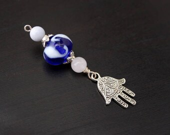 Blue Chalcedony and Rose Quartz Moonlight Reflections Hamsa / Hand of Fatima Blessingway bead - Blessing bead, baby shower gift, doula gift