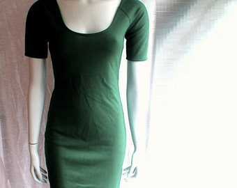 Short scoop neckline dress, custom-made in 21 color options