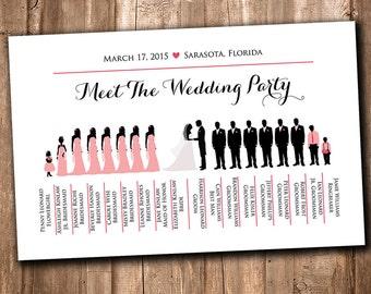 "Wedding Silhouette Bridal Party Printable -  ""Meet the Bridal Party"" Silhouette Program Insert Printable - Wedding Silhouette Wedding Party"