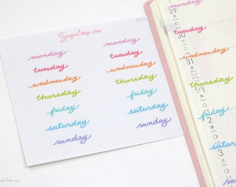 Rainbow, Days of The Week Planner Stickers, 14 Hand Lettered Stickers, Bullet Journal, Bujo, Undated, Diary, Calendar, DAY13