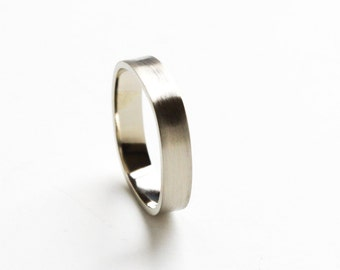 """Modern Eco friendly recycled 14K white gold ring wedding engagement handmade 4mm wide band rounded square - """"Small White Gold Duality Ring"""""""