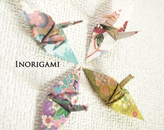 100 Origami 3 inch cranes / 4 Japanese traditional Kimono patterned / Decoration / wedding / Party / interior / Thanks Gift / Supplies