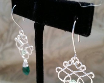 Emerald dreams filigree earrings