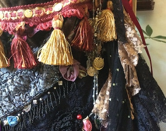 Boho Gypsy Bag, chenille tapestry, upholstery fabric, embellished fringe beaded tassels, long crossover body strap