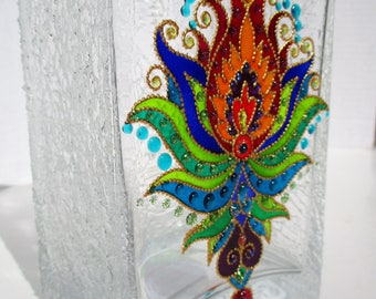 Glass vase Lotus art Glass painting Bohemian decor Home decor Candle holder Painted glass Gift shop