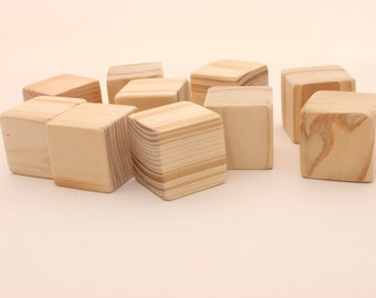 Set of 10 pine wooden blocks   1 1/2 inch   4 cm   Unfinished wood blocks   Blocks with extra sanded corners  Square blocks   Wooden cubes