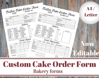 Custom Cake Order Form, Bakery Forms, Cake Order Form, Baking Business Form, Home Bakery Business, Small Business, Order Information