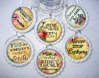 Wine Glass Charms, Bottlecap wine glass charms, Best friends gift, wineglass charms, ladies night,set of 6, Inspriational Sayings.