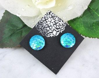 Mermaid Studs - Mermaid Earrings - Dragon Studs - Ocean Blue Earrings - Stud Earrings - Button Earrings - Mermaid Tail - Dragon Scales