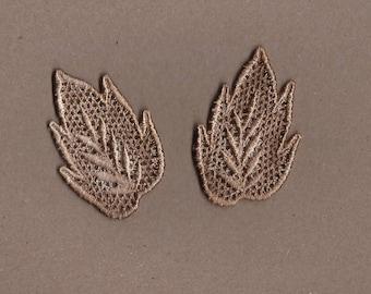 Hand Dyed Venise Lace Appliques Leaf Accents Set of 2 Vintage Tea