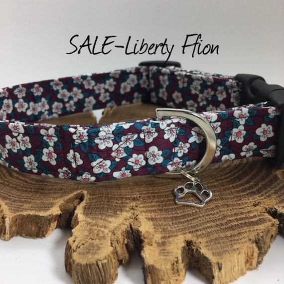 Sale Dog Collar, Liberty London, Ffion, Pretty Dog Collar, Floral Dog Collar, Liberty Dog Collar