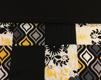 READY TO SHIP- Black, Yellow, Grey Quilt, Lap Quilt, Throw, Toddler, Crib Size, Baby, Floral, Diamonds