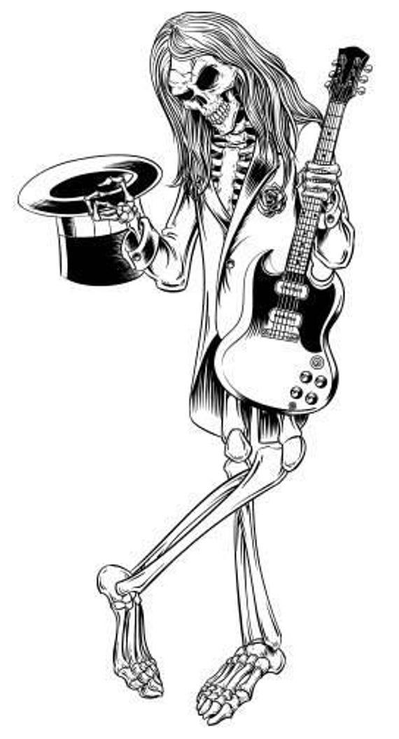 Skeleton holding guitar