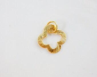 Gold vermeil  , brushed  clover, quatrefoil  charm with jump ring  , quatrefoil . (21mm), quatrefoil link, gold plated sterling silver