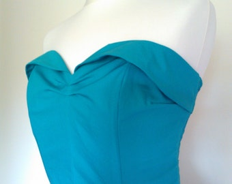 Classic 1950s style, Teal suntop. Lightly boned, ruched back. Vintage styling